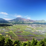 Aso Valley after rice-transplanting