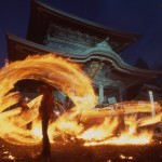 Image which we took of state of torch-fishing Shinto ritual